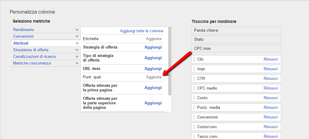 personalizza colonne help desk