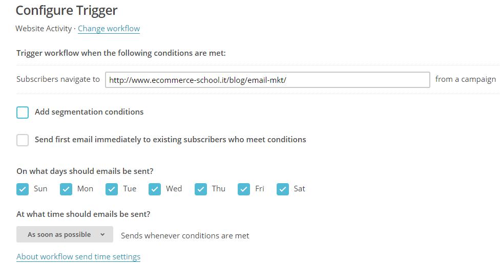website activity workflow automazioni mailchimp